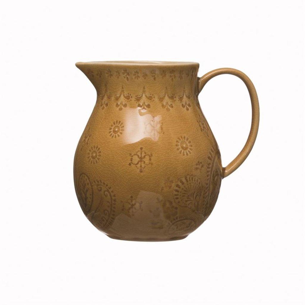 Mustard Crackle Glaze Debossed Stoneware Pitcher