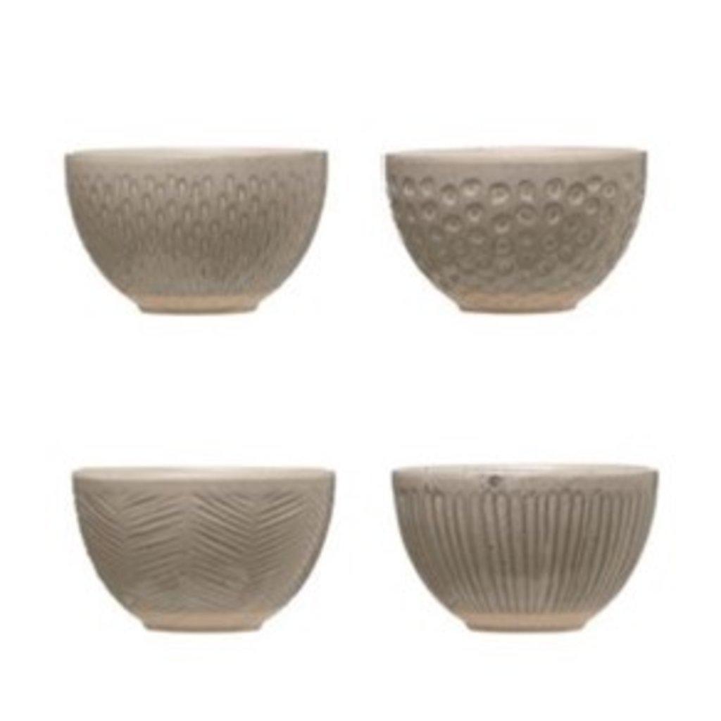 Grey Reactive Glazed Stoneware Bowl Set of 4