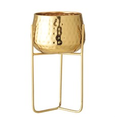 Metal Planter w/ Stand, Gold Finish