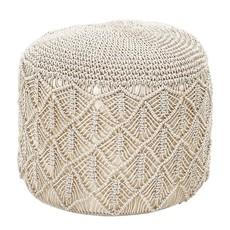 Hand-Woven Cotton Macrame Pouf