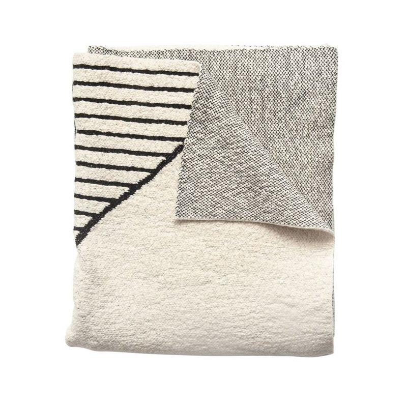 Cotton Knit Throw w/ Pattern, Cream & Black
