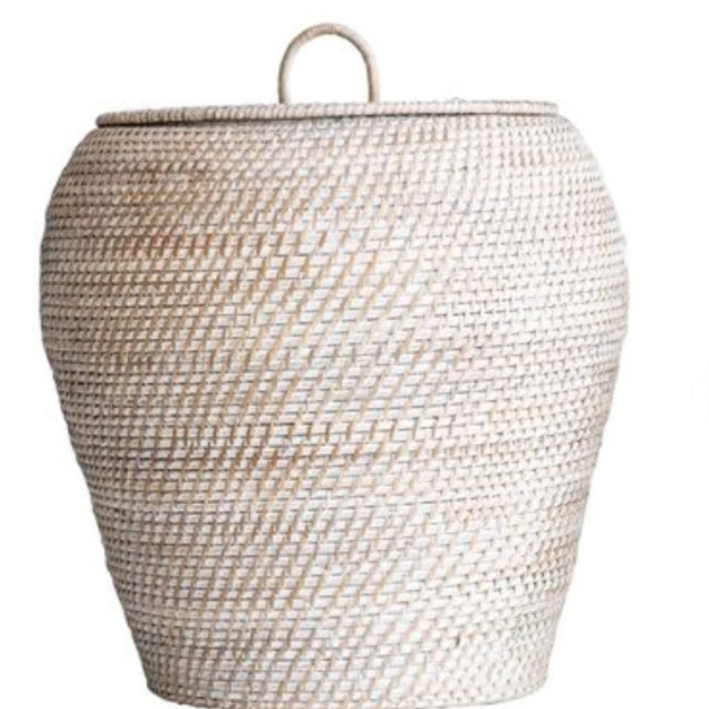 Large Whitewashed Rattan Basket w/ Lid