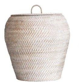 Large Whitewashed Rattan Basket w/ Lid