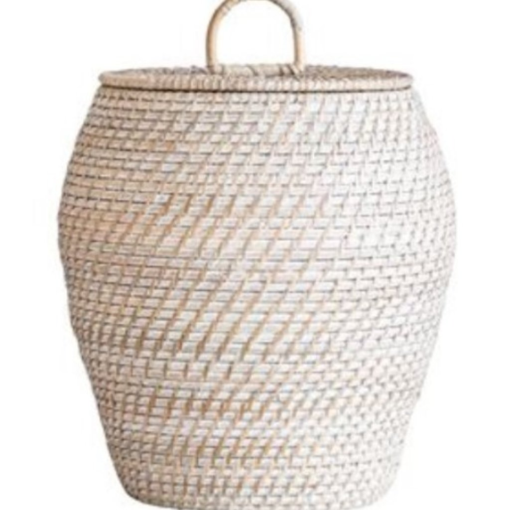 Small Whitewashed Rattan Basket w/ Lid
