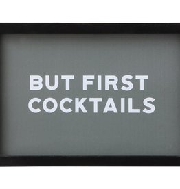 """Wood Framed Glass Wall Decor """"But First Cocktails"""""""
