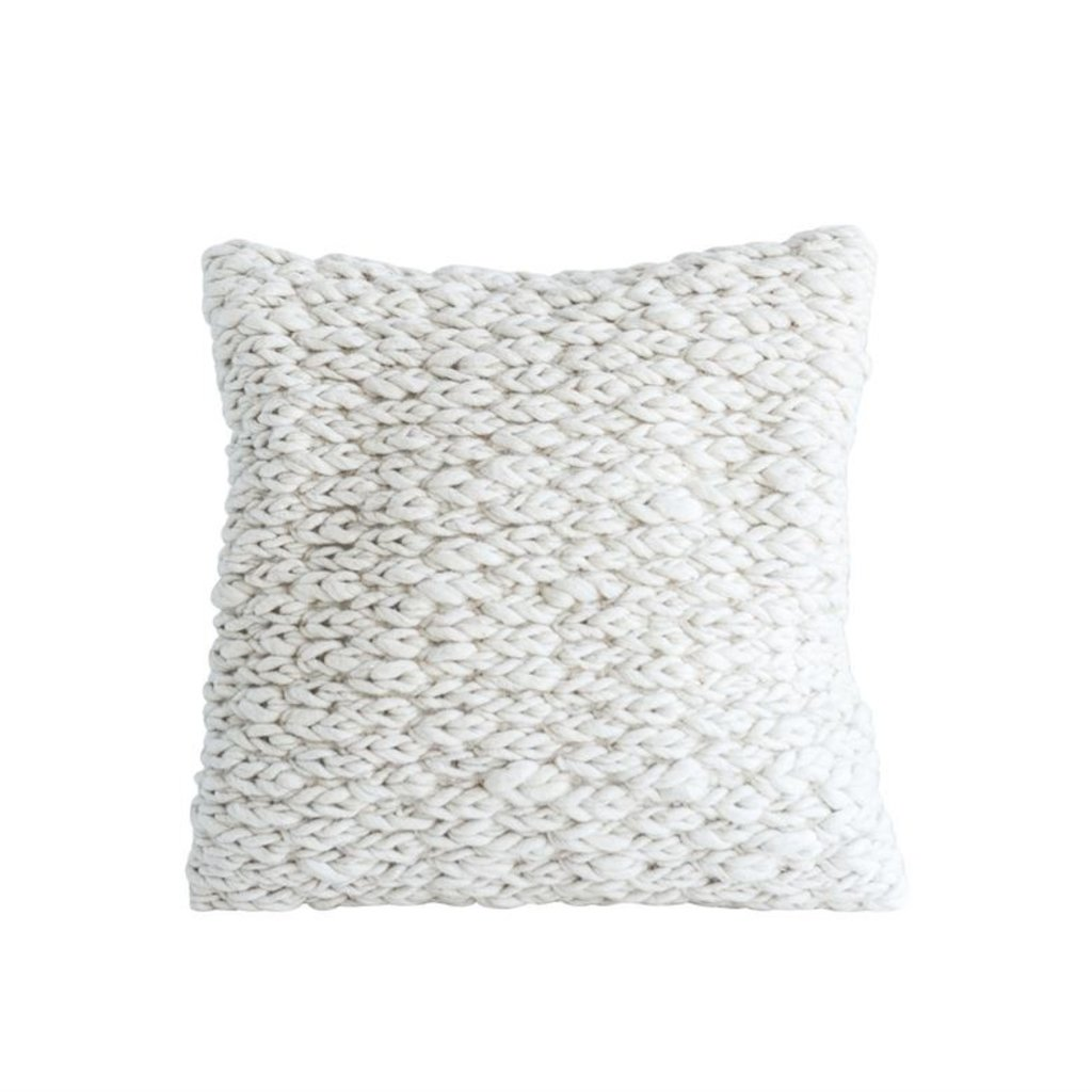 Square Wool Cable Knit Pillow
