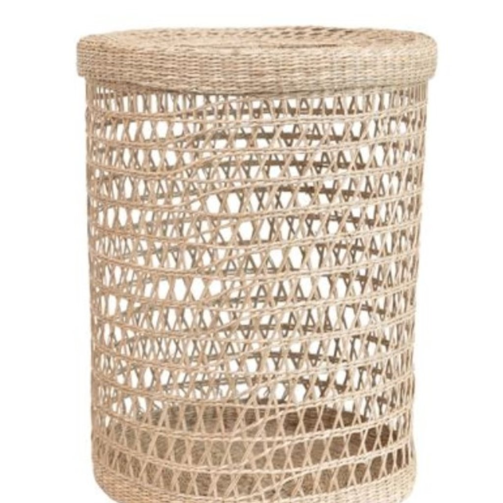 Large Hand-Woven Seagrass Basket w/ Lid