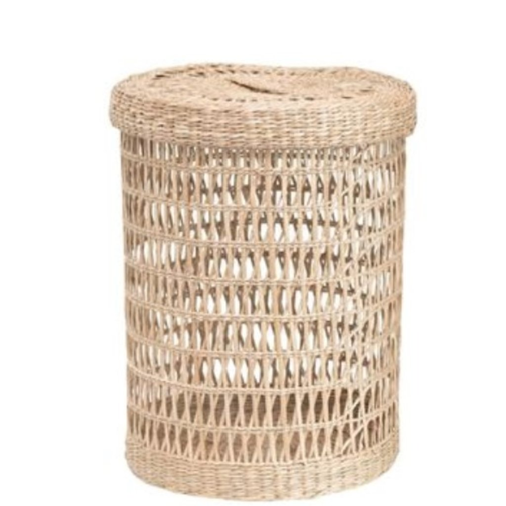 Small Hand-Woven Seagrass Basket w/ Lid