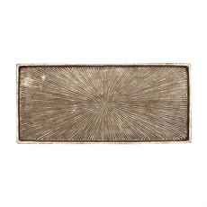 Decorative Embossed Aluminum Tray, Antique Silver Finish
