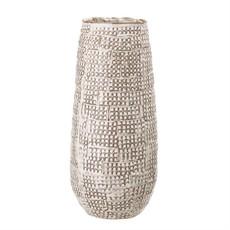 White Reactive Glaze Embossed Stoneware Vase
