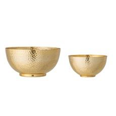 Hammered Metal Bowls, Gold Finish, Set of 2