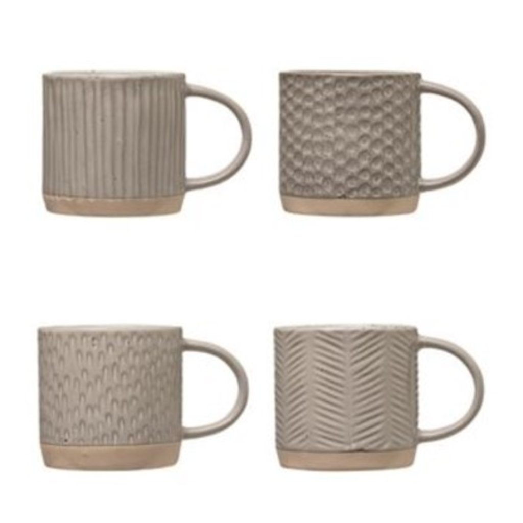 Grey Reactive Glazed Stoneware Mug Set of 4