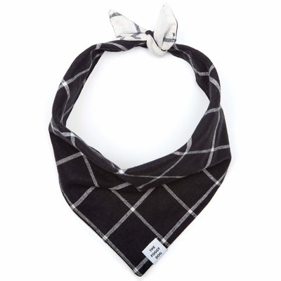 The Foggy Dogg Windowpane Check Black Dog Bandana