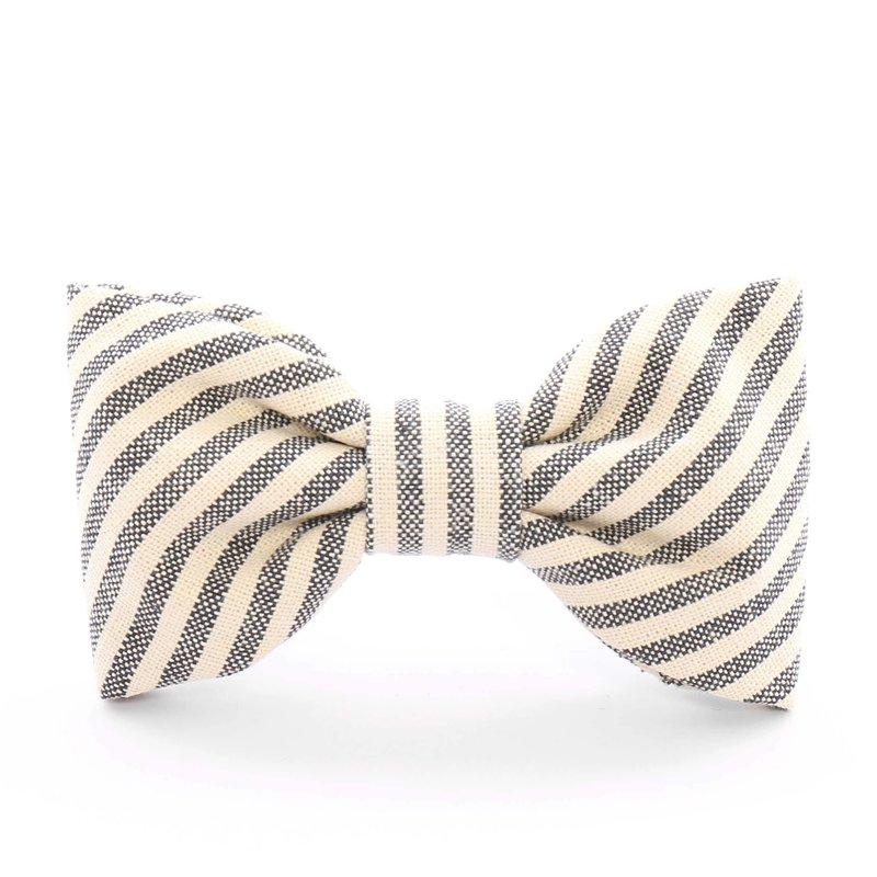 The Foggy Dog Charcoal Stripe Dog Bow Tie