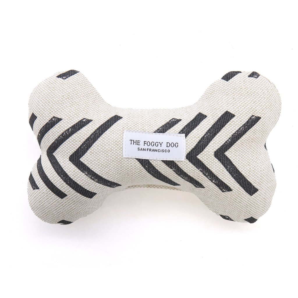 The Foggy Dog Modern Mud Cloth Dog Bone Squeaky Toy
