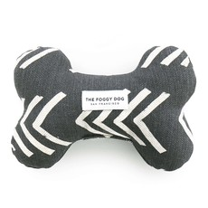 The Foggy Dog Modern Mud Cloth Black Dog Bone Squeaky Toy
