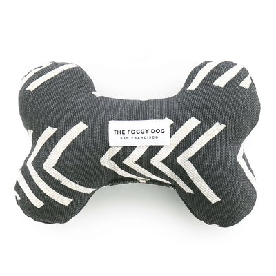 Modern Mud Cloth Black Dog Bone Squeaky Toy