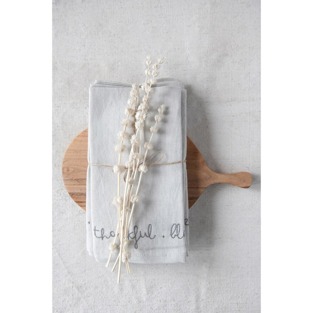 """Embroidered Napkins, Grey, Set of 4 """"Grateful. Thankful. Blessed."""""""