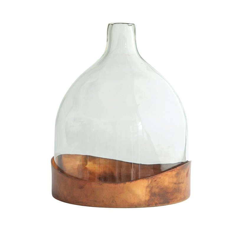 Glass Cloche w/ Decorative Metal Tray, Antique Copper Finish