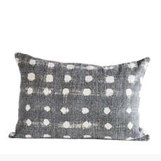 Cotton Slub Charcoal Polka Dot Pillow