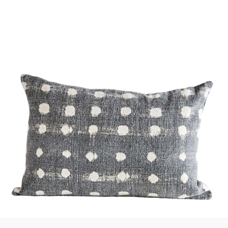 Cotton Slub Charcoal Polka Dot Pillow