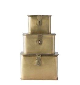 Brass Finish Set of 3 Square Decorative Metal Boxes