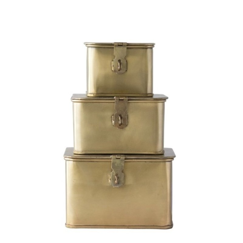 Brass Finish Set of 3 Square Decorative Metal Boxes