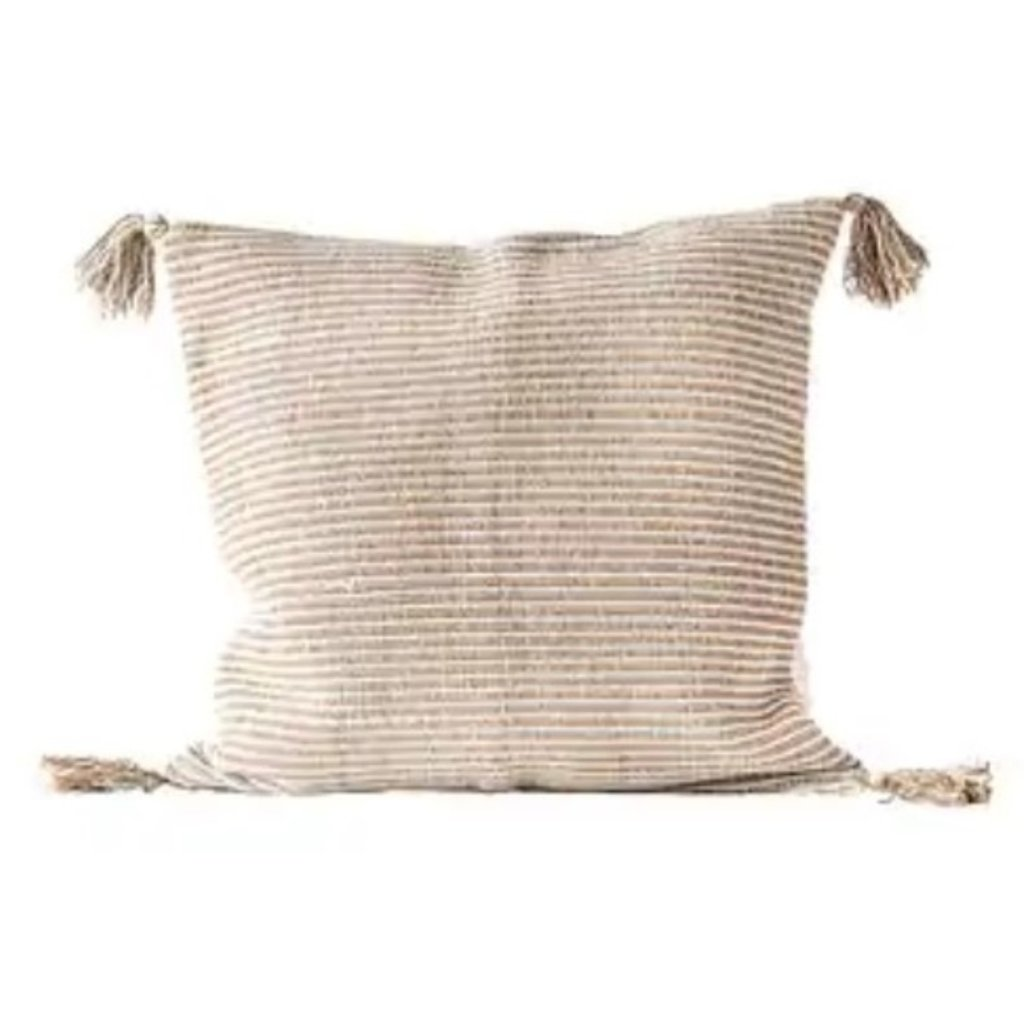 Neutral Square Cotton Woven Striped Pillow w/ Tassels