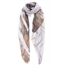 Silver Watercolor Tissue Solid Print Scarf