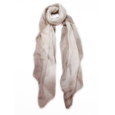 Taupe/Cream Twill Weave Hand Dyed Cashmere Scarf
