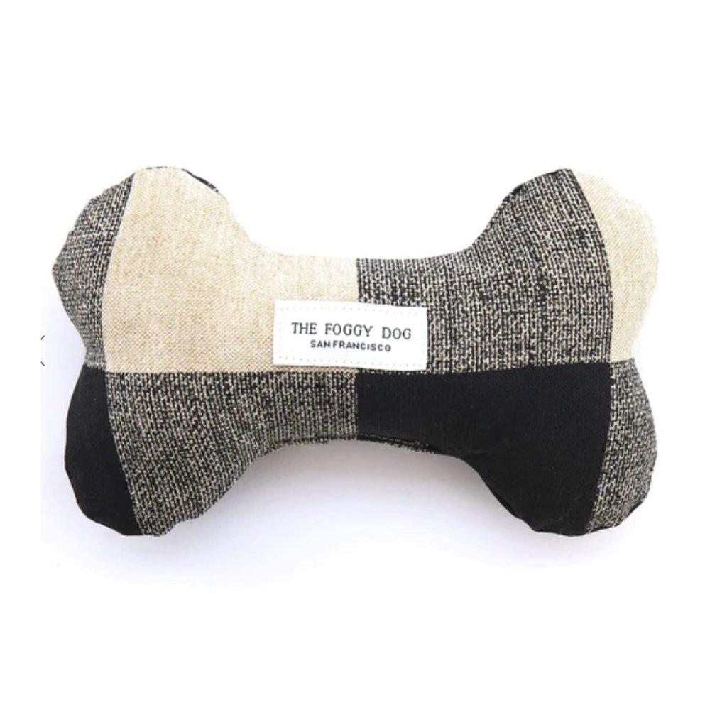 The Foggy Dog Buffalo Check Dog Bone Squeaky Toy