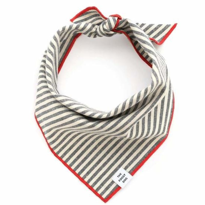 The Foggy Dog Charcoal Stripe Bandana w Red Trim