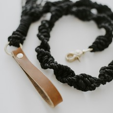 Macrame Dog Leash Black Rope w Brown Leather Handle