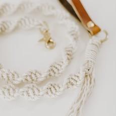Macrame Dog Leash Neutral Rope w Brown Leather Handle