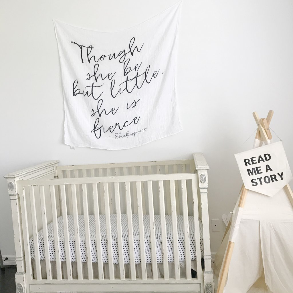 Organic Cotton Muslin Swaddle Blanket - Though she be little