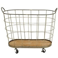 Large Metal Laundry Basket on Casters