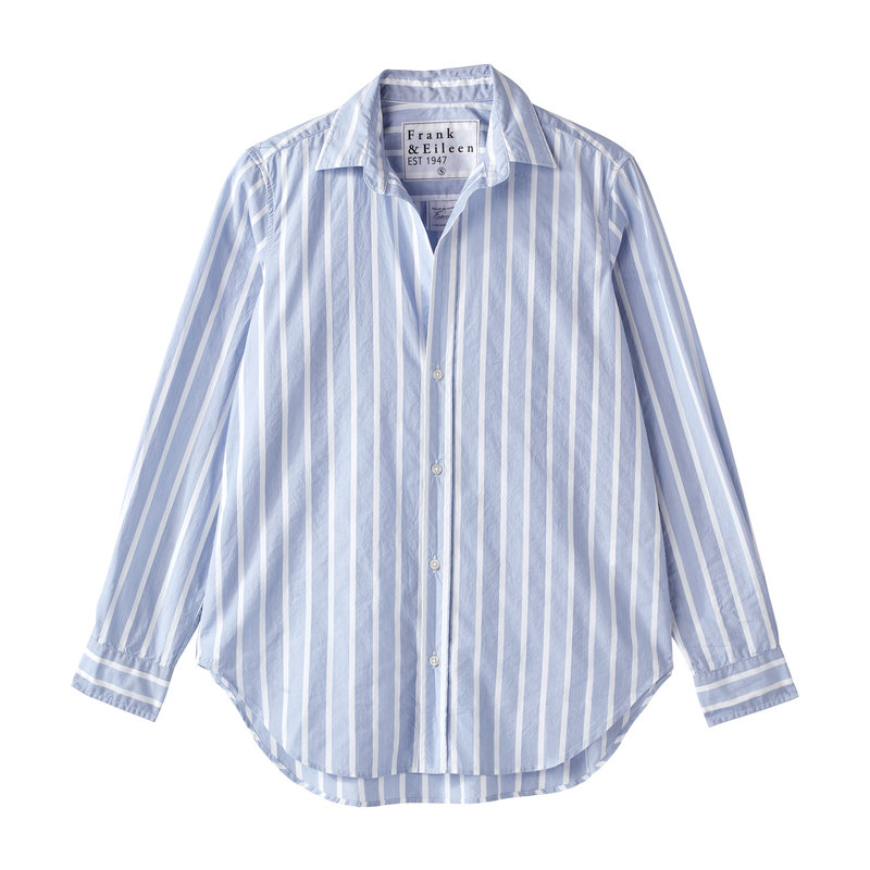 Frank & Eileen Frank Woven Button Up Wide White Stripe, Multi Blue