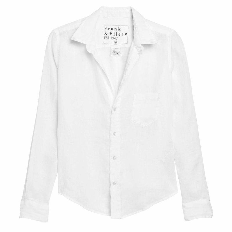 Frank & Eileen Barry Woven Button Up White Linen