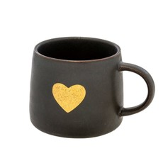 Indaba Gold Heart Mug, Black Set of 2