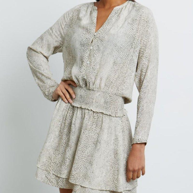 Rails Jasmine Long Sleeve Dress Cream Snakeskin