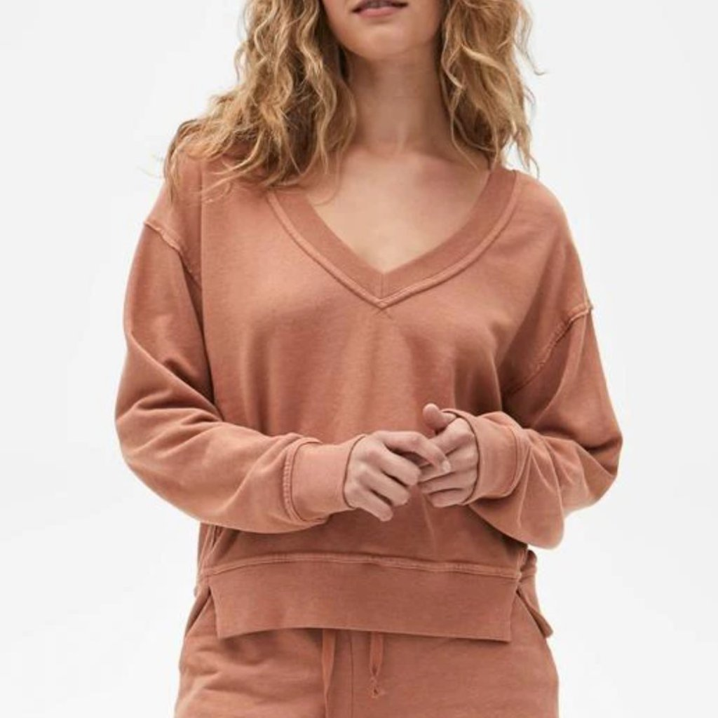 Michael Stars Camila V Neck Crop Sweatshirt