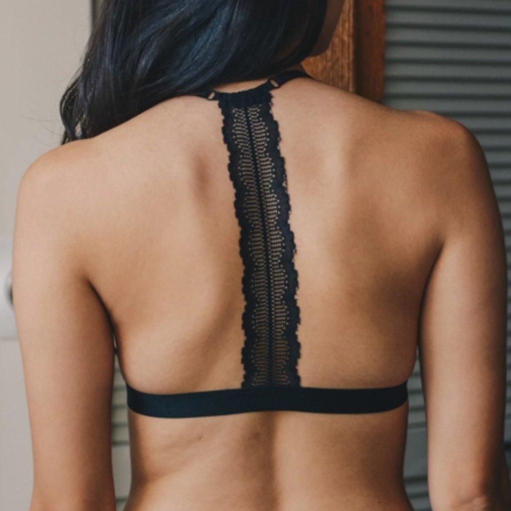Black Eyelet Lace T-Back Bralette