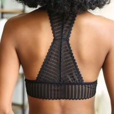 Black Ribbed Lace Boho Racerback Bralette