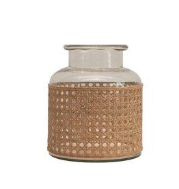 Short Cane Wrapped Glass Vase