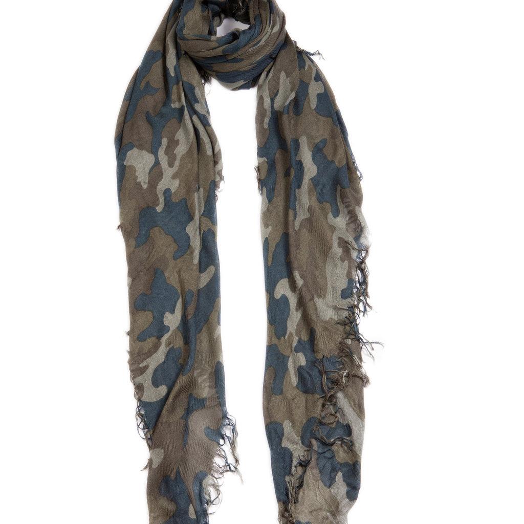 Olive/Denim Camo Tissue Print Scarf