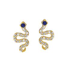 Tai Gold CZ Snake Post Earrings, w/ Sapphire CZ