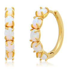 Tai Gold Huggie Earrings w/Opal
