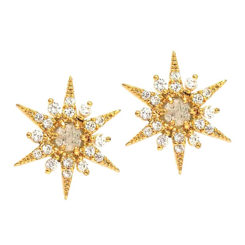Tai Pave Starburst Earrings w/ Labradorite