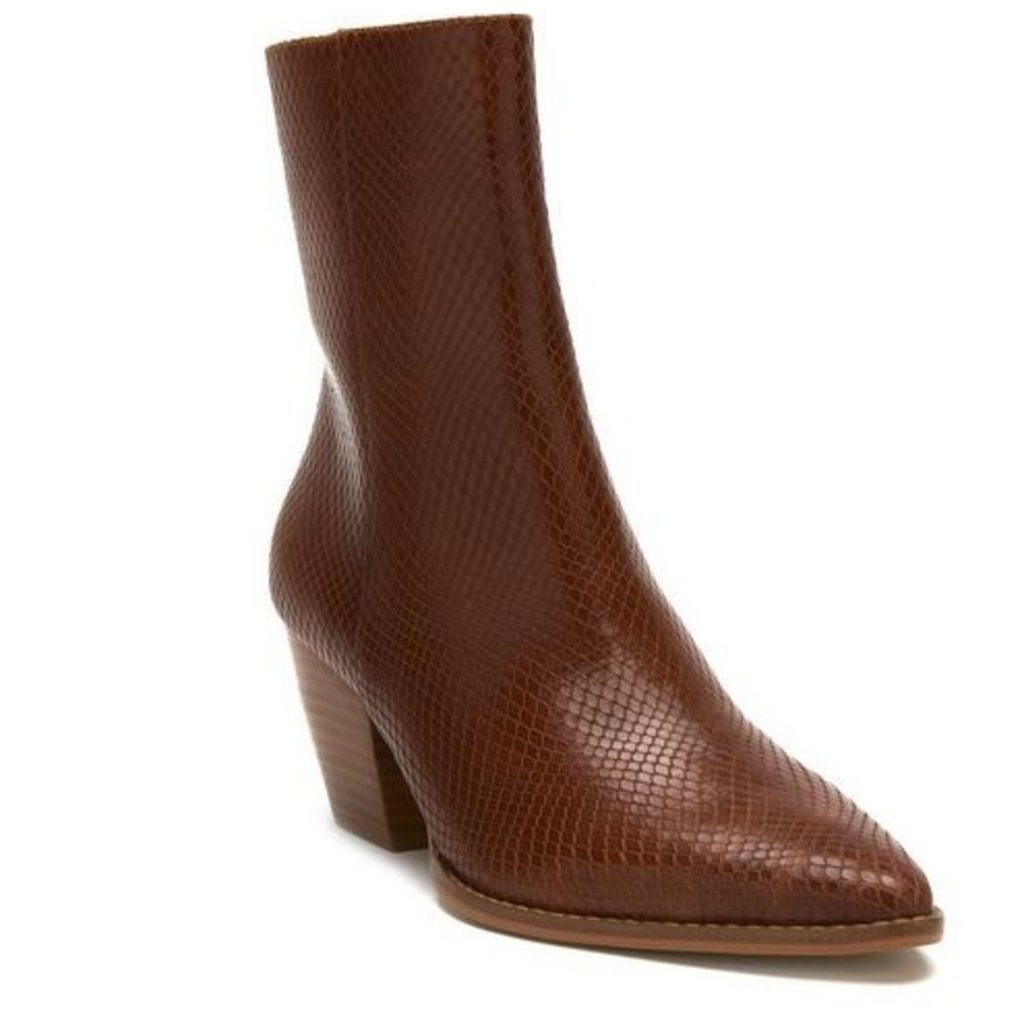 Caty Tobacco Snake Leather Bootie