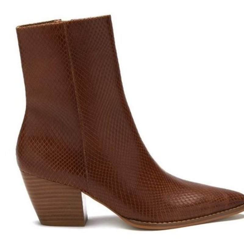 Matisse Caty Tobacco Snake Leather Bootie